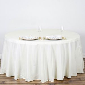 """132"""" Round Ivory Tablecloths (13 total)"""